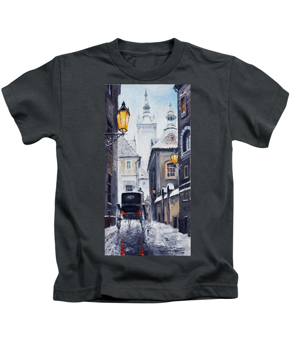 Oil Kids T-Shirt featuring the painting Prague Old Street 02 by Yuriy Shevchuk