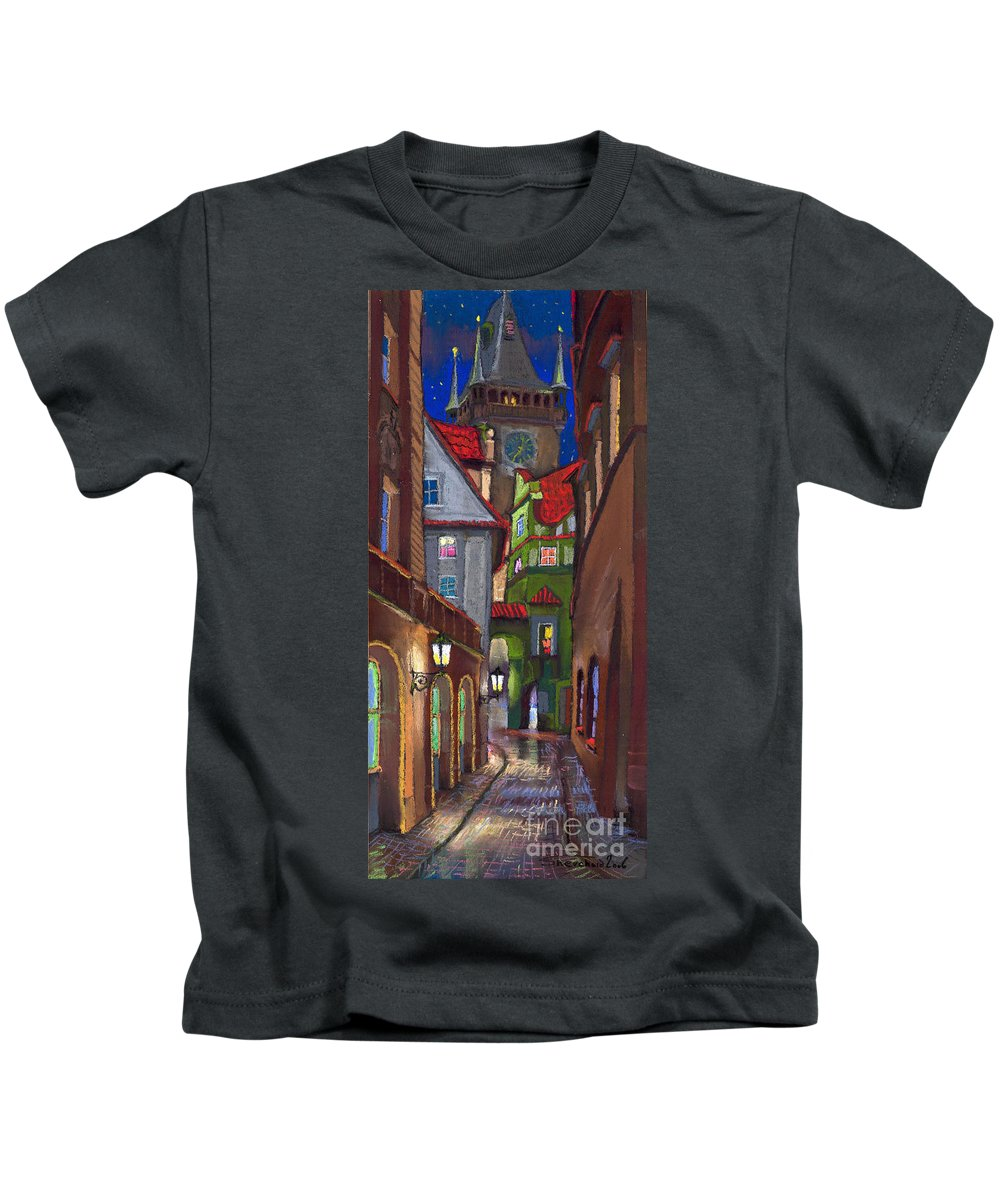 Pastel Kids T-Shirt featuring the painting Prague Old Street by Yuriy Shevchuk