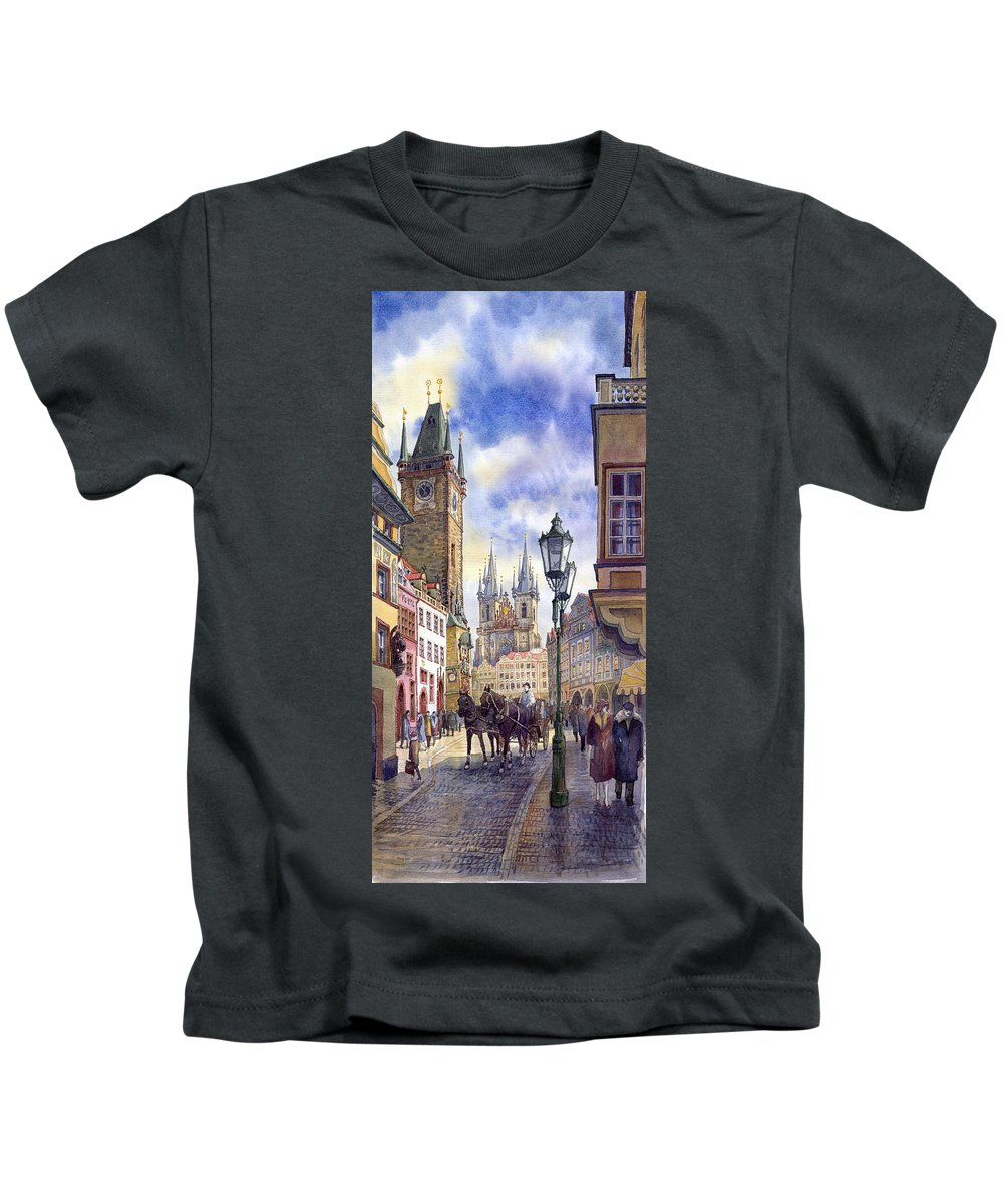 Watercolour Kids T-Shirt featuring the painting Prague Old Town Square 01 by Yuriy Shevchuk