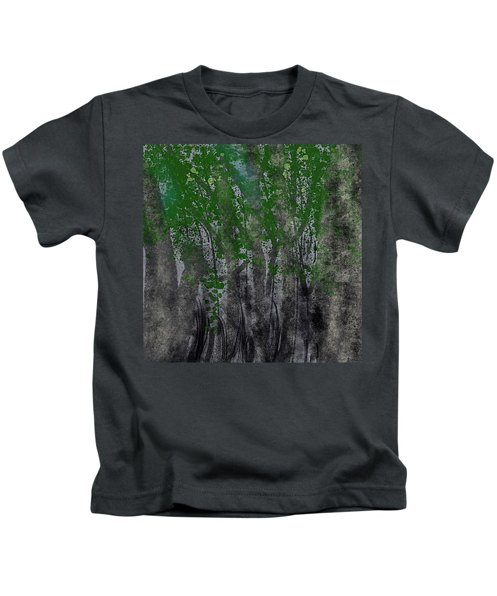 Trees Kids T-Shirt featuring the painting Quiet Night by Bill Minkowitz