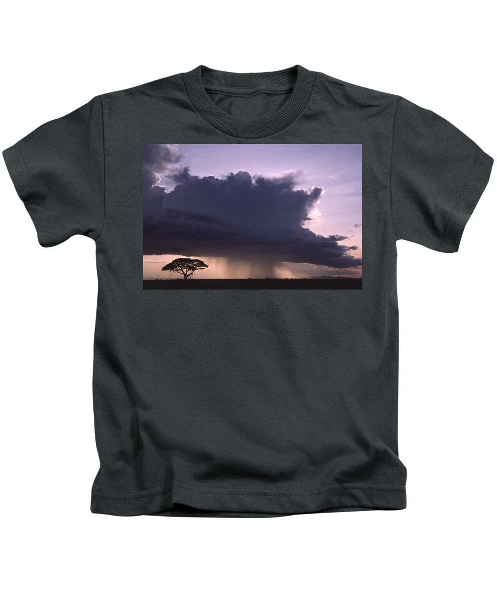 Africa Kids T-Shirt featuring the photograph Rainstorm At Amboseli by Michele Burgess
