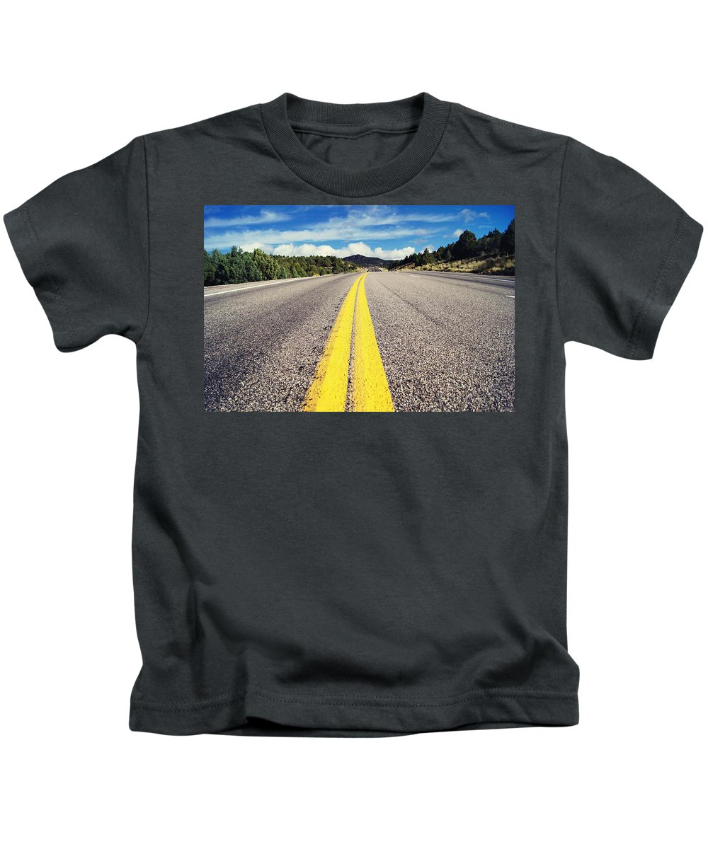 Road Kids T-Shirt featuring the digital art Road by Dorothy Binder