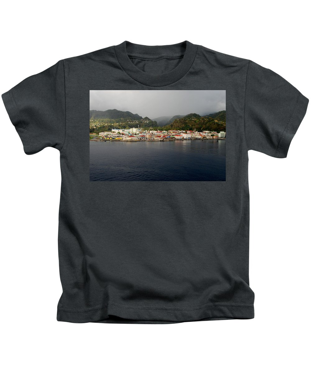 Island Paradise Kids T-Shirt featuring the photograph Roseau Dominica by Gary Wonning