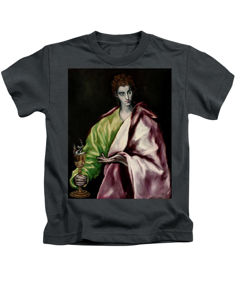 Apostle Kids T-Shirt featuring the painting Saint John The Evangelist by El Greco