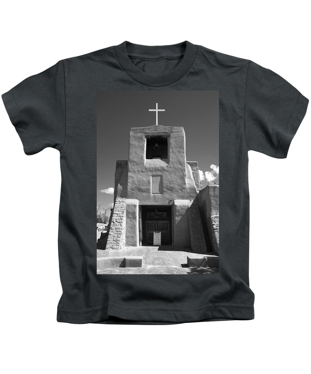 66 Kids T-Shirt featuring the photograph Santa Fe - San Miguel Chapel by Frank Romeo