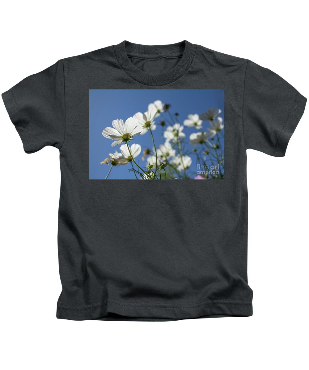 Asia Kids T-Shirt featuring the photograph Sensation Cosmos Bipinnatus White Cosmos Standing Up Towerd Sk by Eiko Tsuchiya