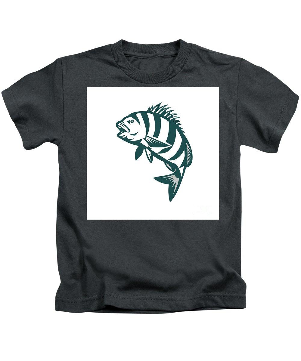 Sheepshead Kids T-Shirt featuring the digital art Sheepshead Fish Jumping Isolated Retro by Aloysius Patrimonio