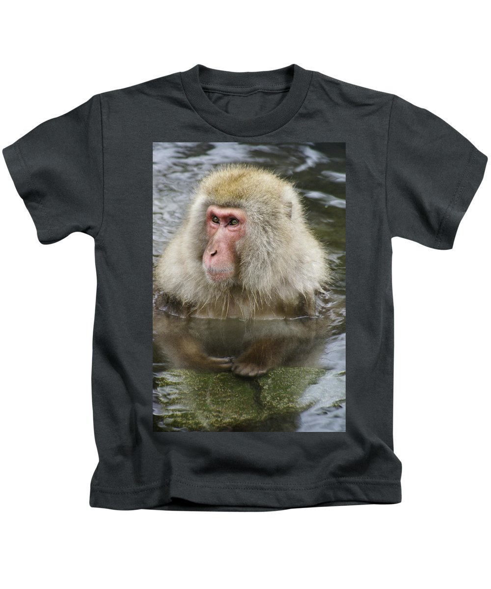 Snow Monkey Kids T-Shirt featuring the photograph Snow Monkey Bath by Michele Burgess