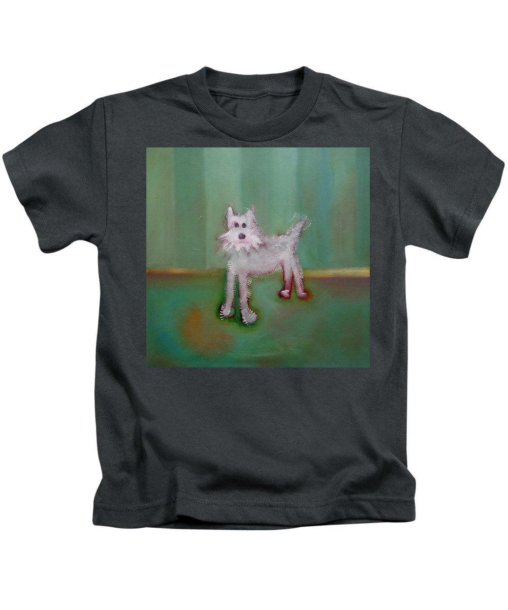 White Puppy Kids T-Shirt featuring the painting Snowy by Charles Stuart