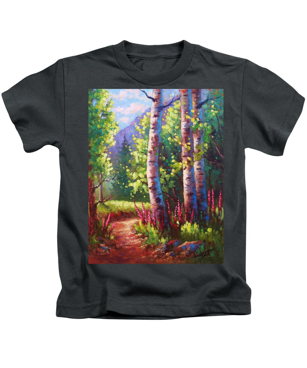 Aspen Kids T-Shirt featuring the painting Spring Path by David G Paul