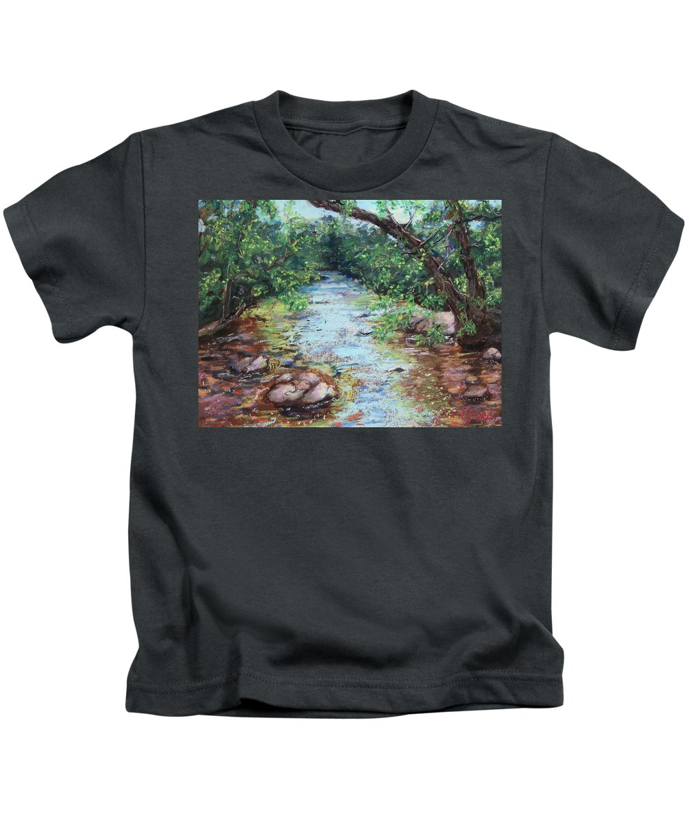 Stephens State Park Kids T-Shirt featuring the painting Stephens State Park by Laurie Paci