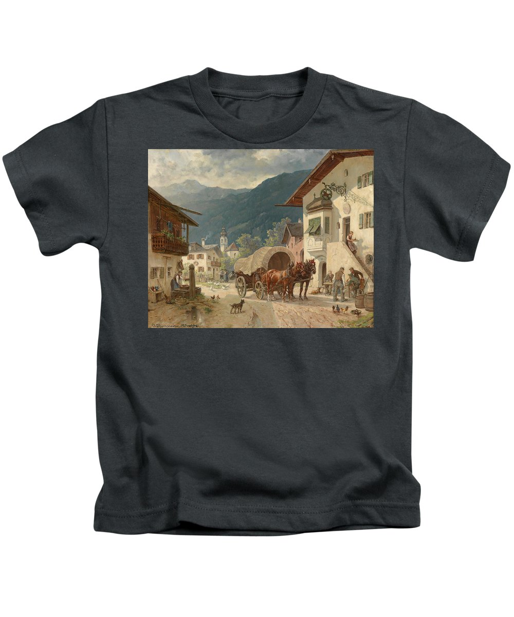Desire Thomassin Kids T-Shirt featuring the painting Stopping At The Coaching Inn by Celestial Images