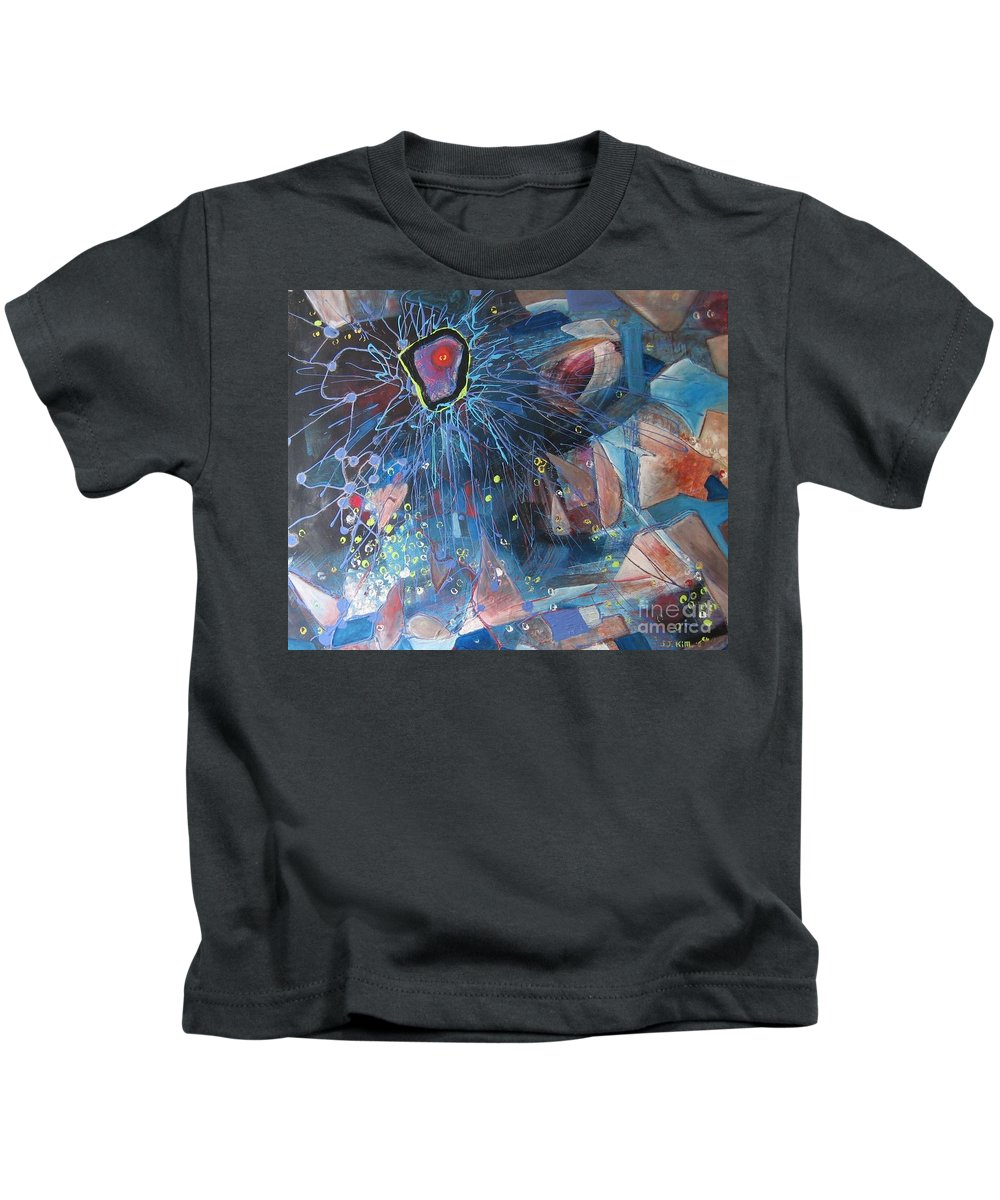 Abstract Paintings Kids T-Shirt featuring the painting Storm At Sea by Seon-Jeong Kim