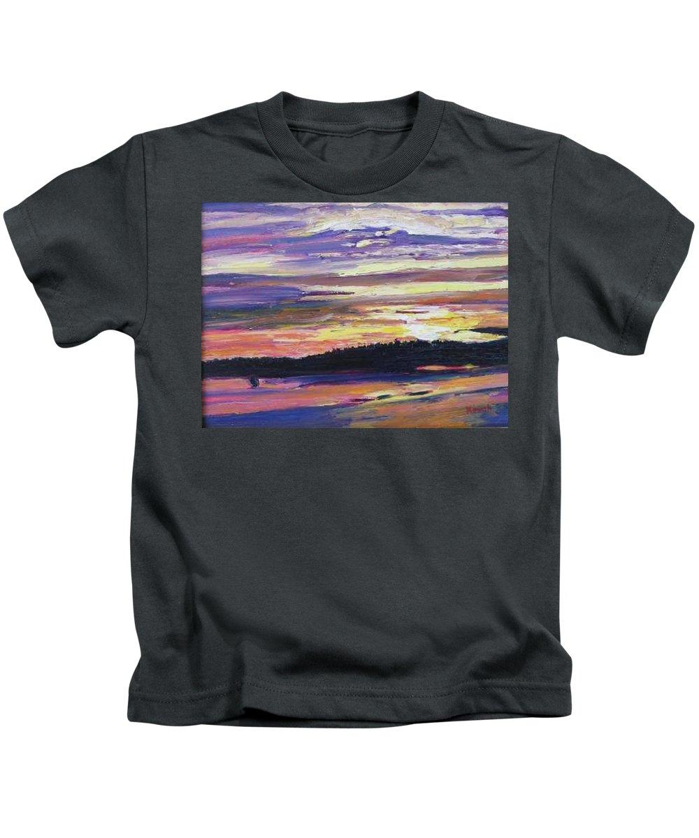 Sunset Kids T-Shirt featuring the painting Sunset by Richard Nowak