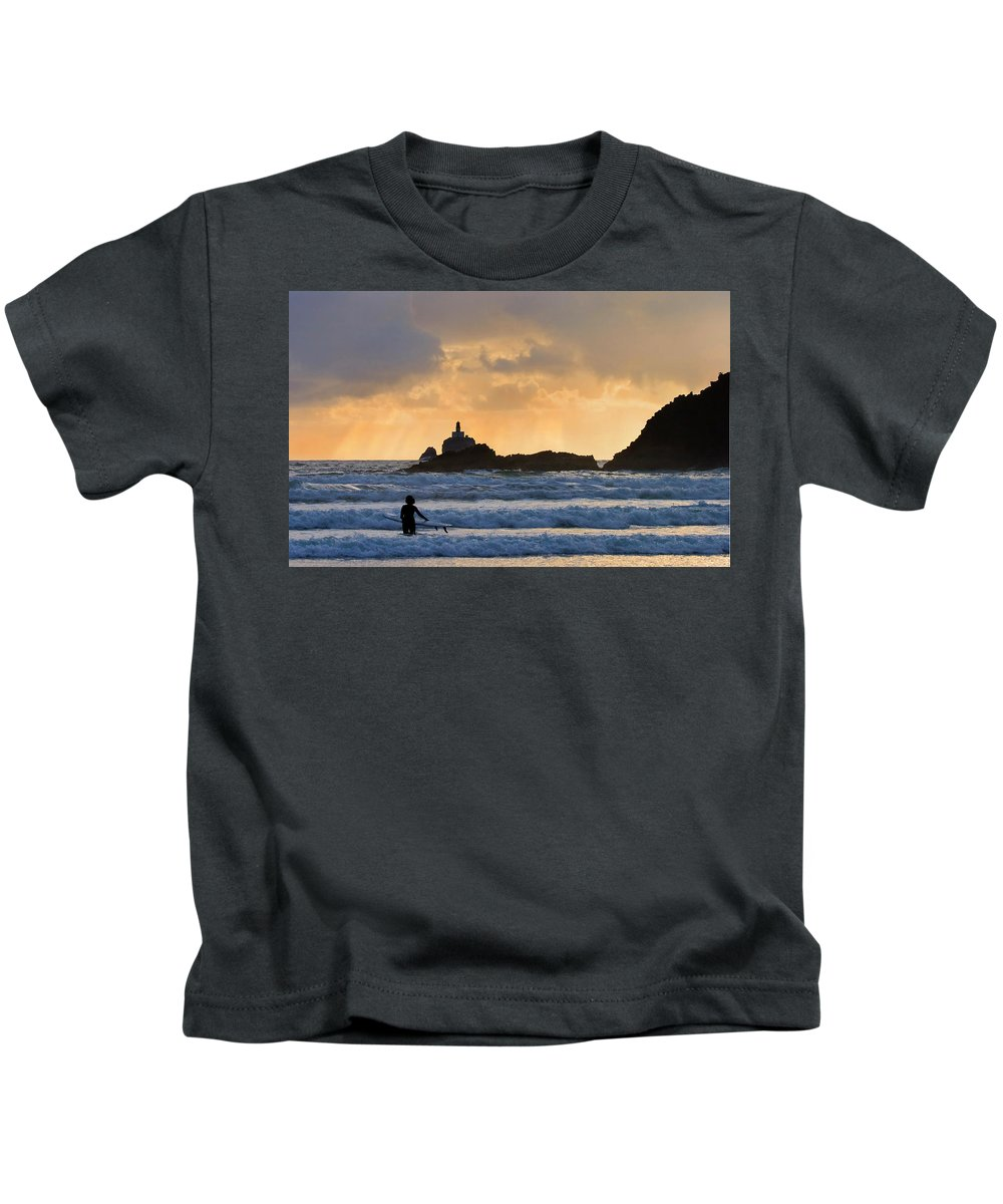 Surfer Kids T-Shirt featuring the photograph Surfs Up by Mike Dawson