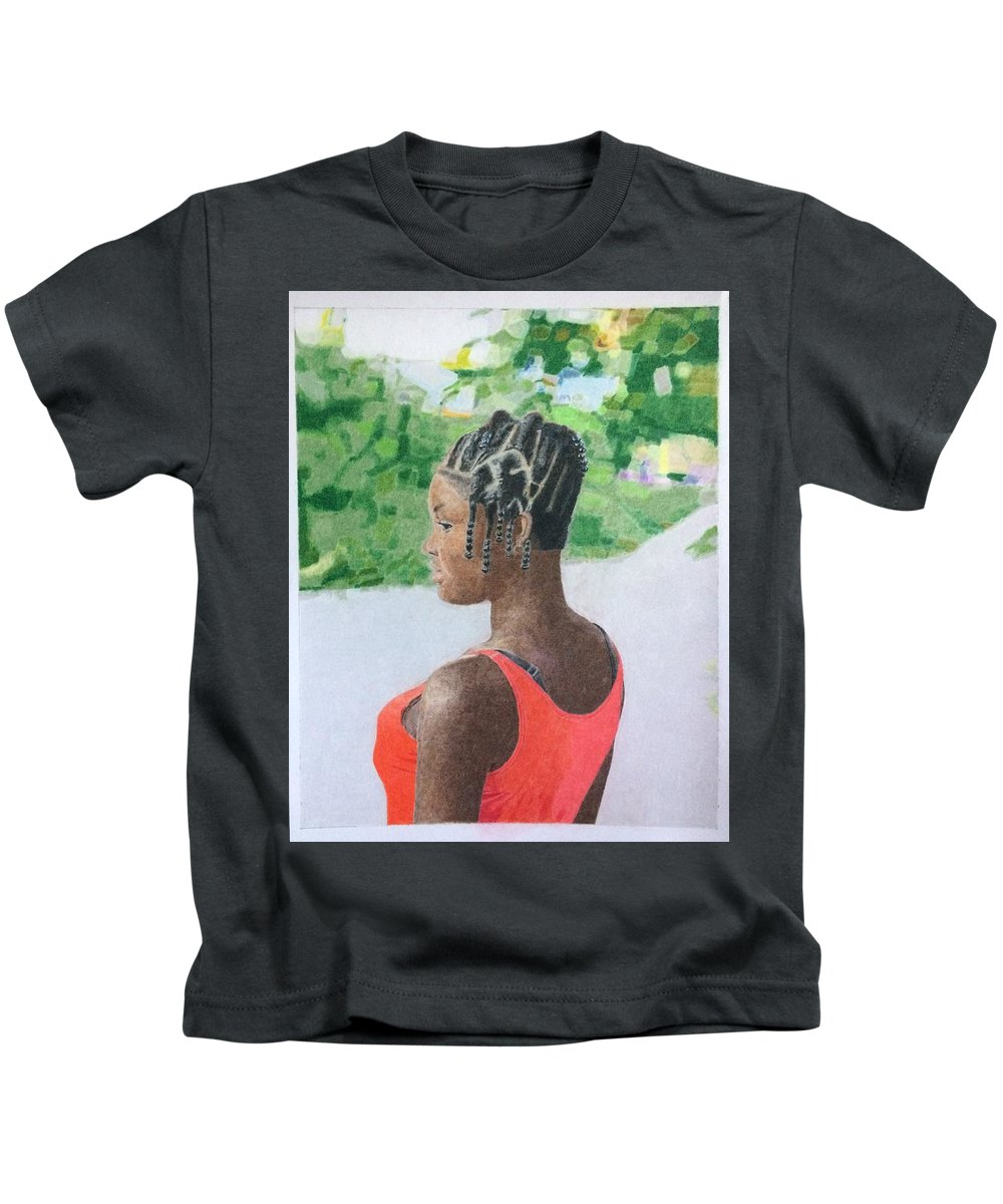 Kids T-Shirt featuring the drawing Surinamese Girl by Alan Culkin