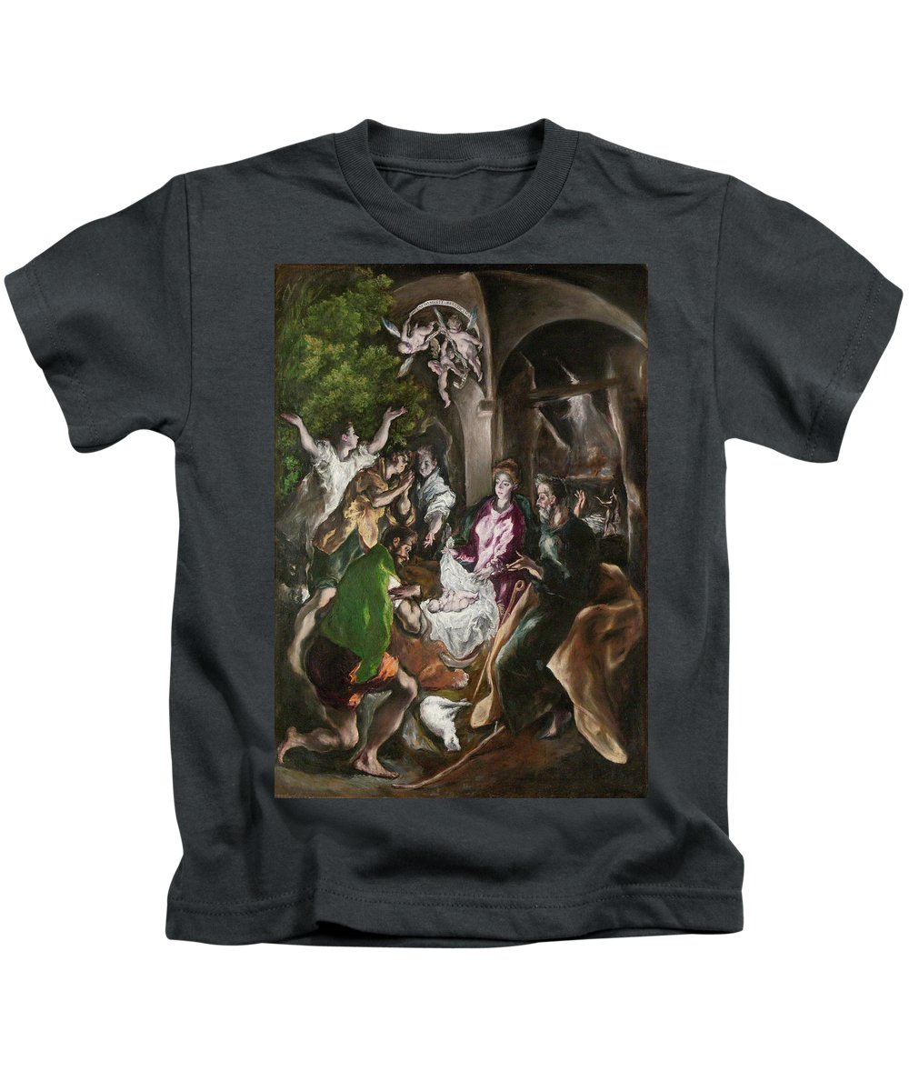Adoration Kids T-Shirt featuring the painting The Adoration Of The Shepherds by El Greco
