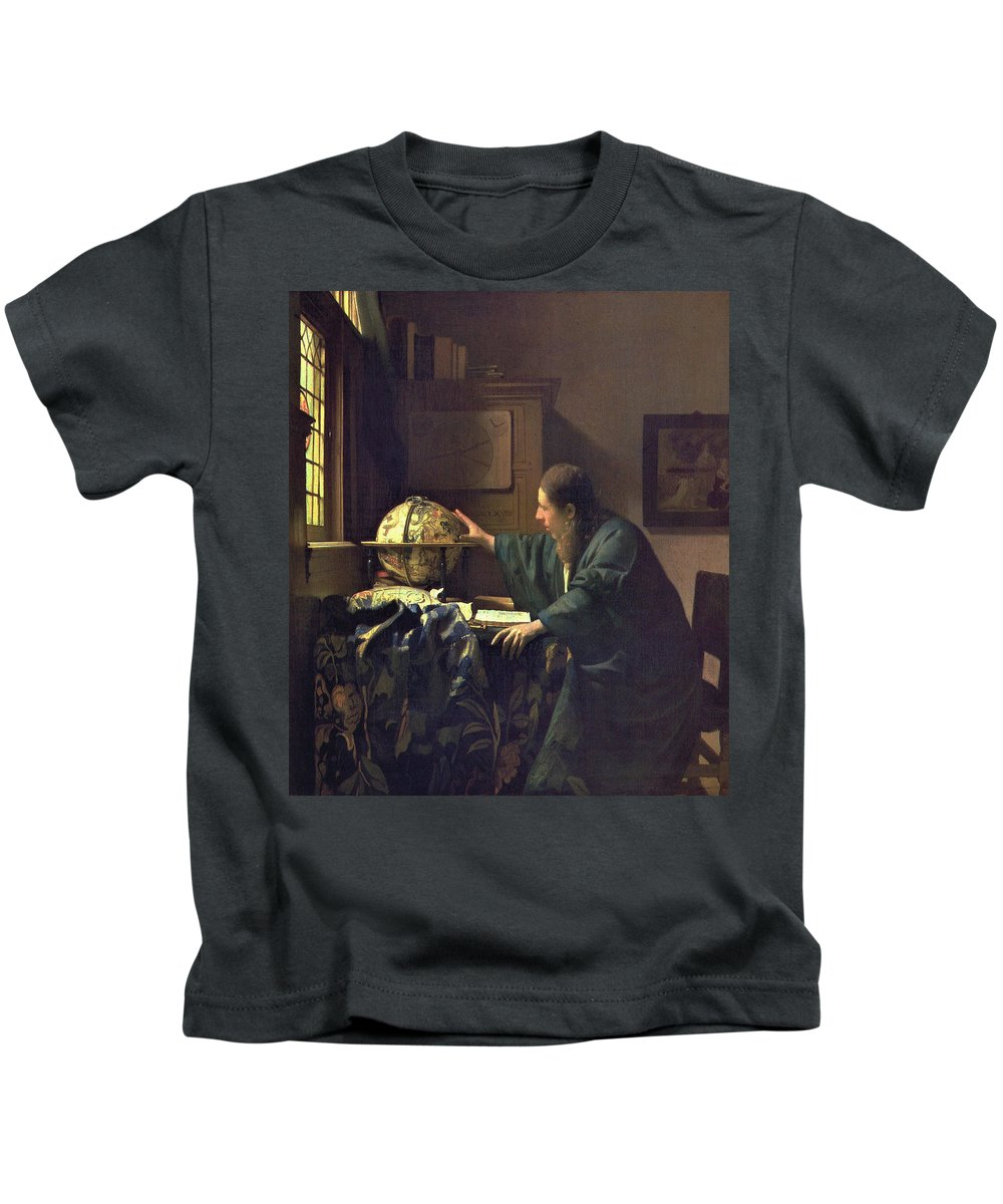 Jan Vermeer Kids T-Shirt featuring the painting The Astronomer by Jan Vermeer