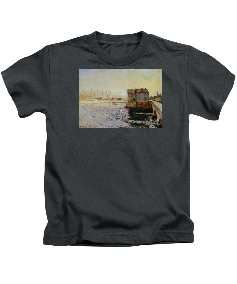 The Bridge Of Moret Kids T-Shirt featuring the painting The Bridge Of Moret by MotionAge Designs