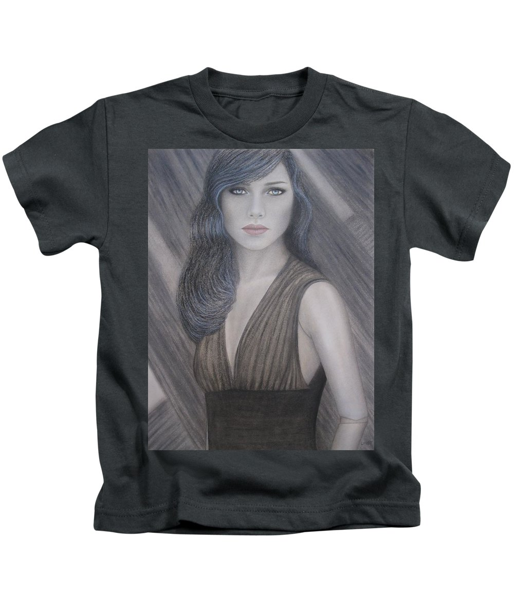 Woman Kids T-Shirt featuring the painting The Doll by Lynet McDonald