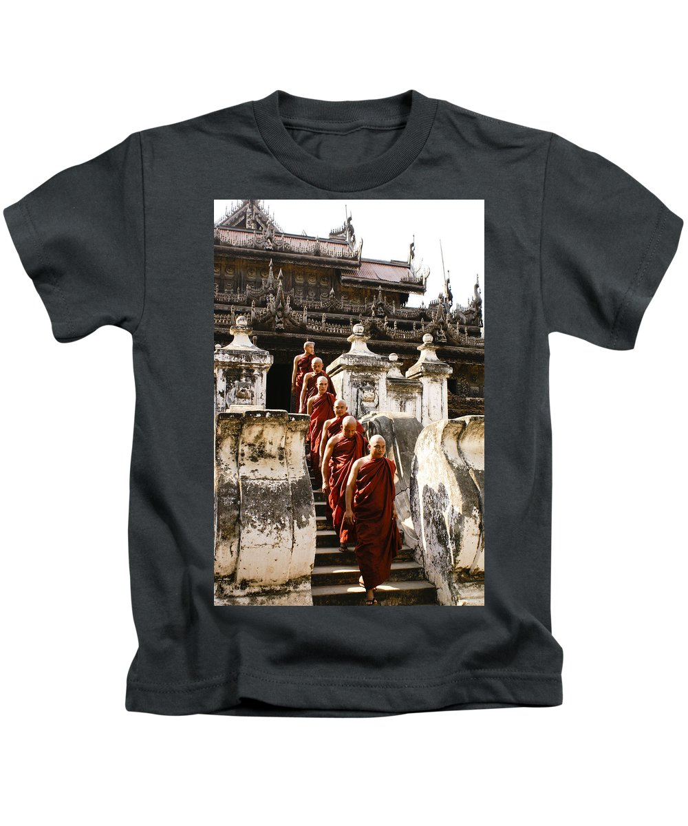 Myanmar Kids T-Shirt featuring the photograph The Old Monastery by Michele Burgess