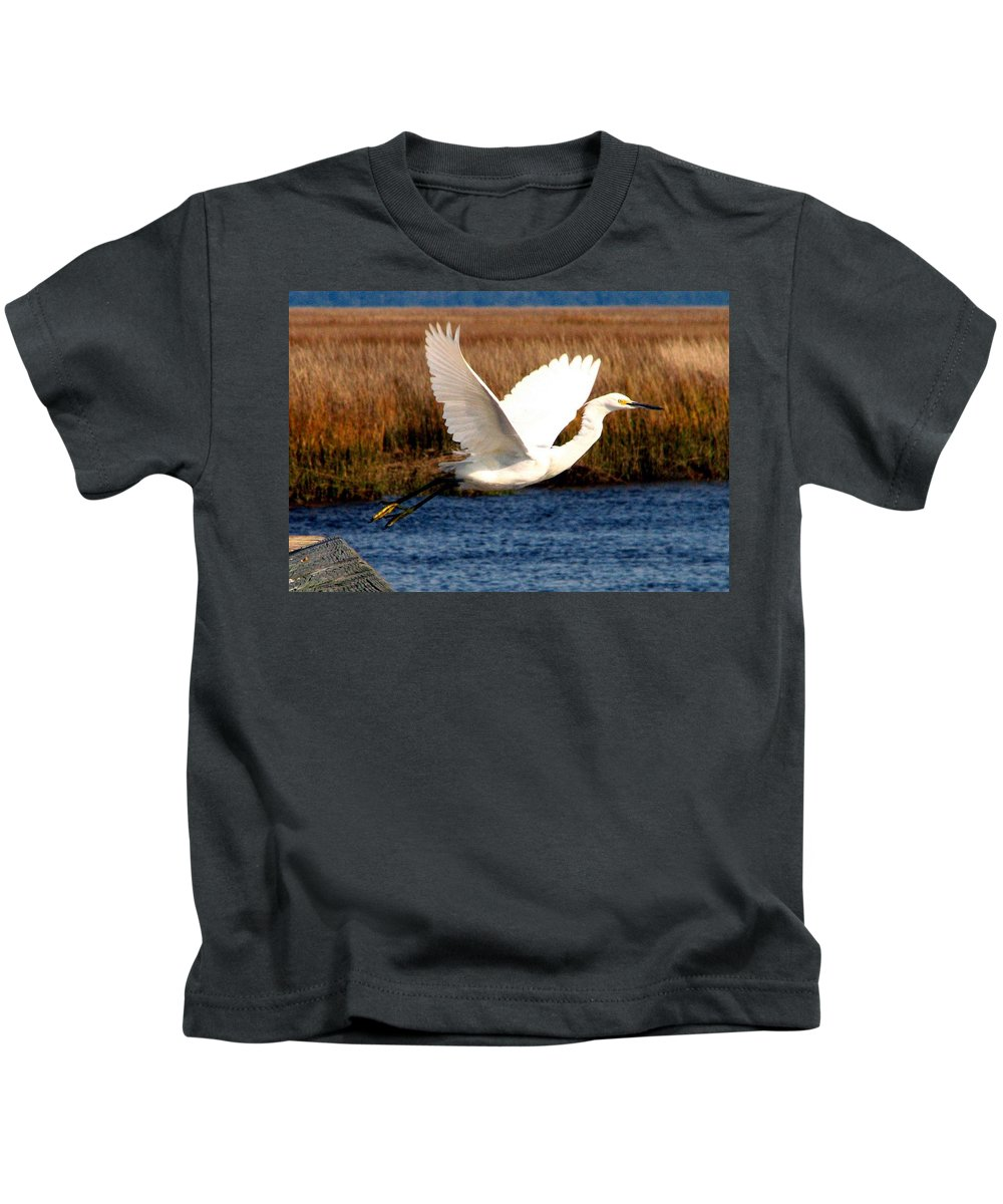 Egret Kids T-Shirt featuring the photograph The Takeoff by J M Farris Photography