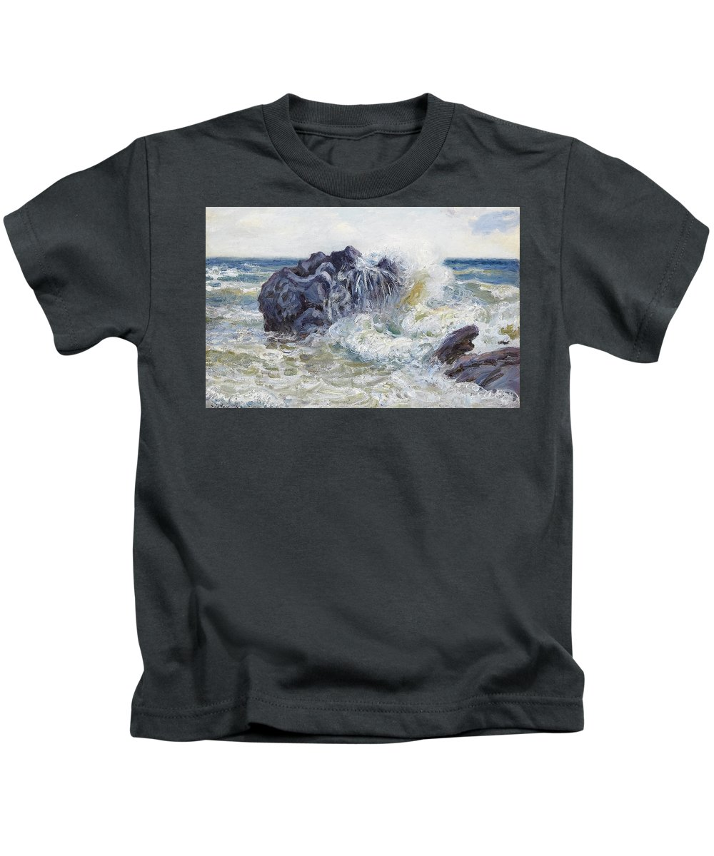 Langland Bay Kids T-Shirt featuring the painting The Wave by MotionAge Designs