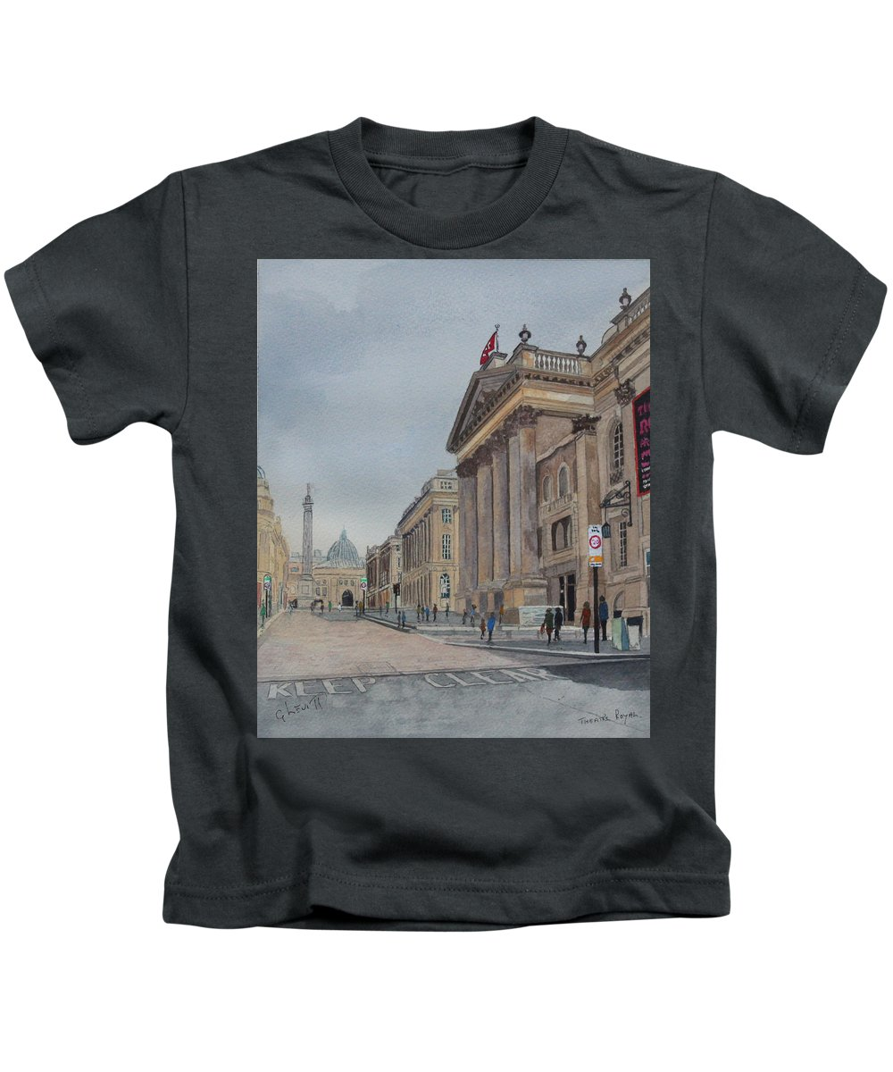 Theatre Town.street Sky Kids T-Shirt featuring the painting Theatre Royal Newcastle by George Levitt