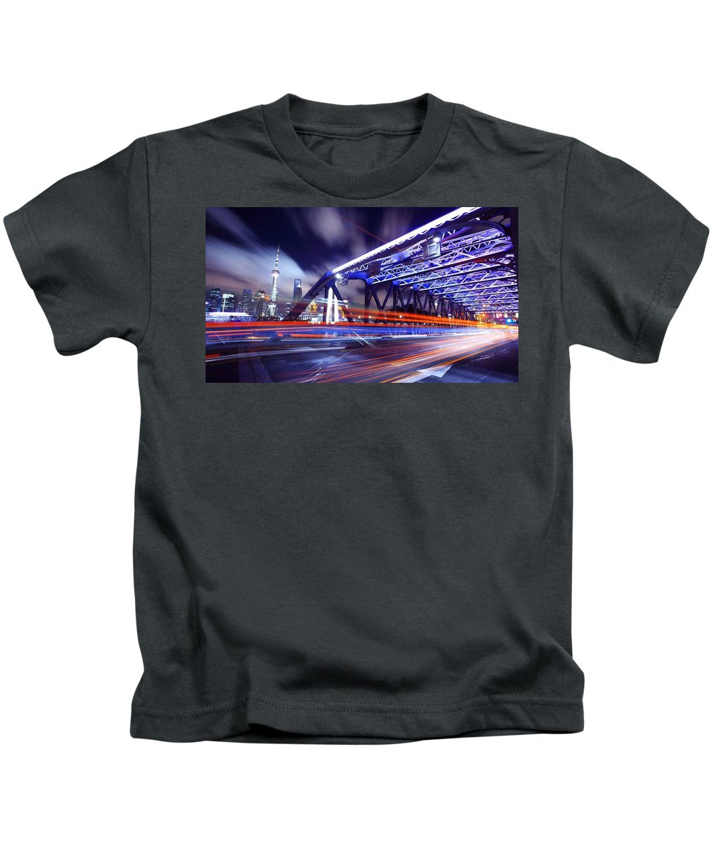 Time-lapse Kids T-Shirt featuring the digital art Time-lapse by Dorothy Binder