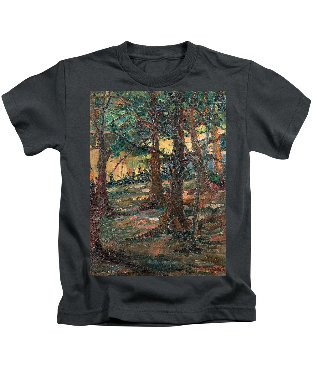 Artur Timoteo Da Costa 1882 - 1823 Kids T-Shirt featuring the painting Trees by Artur Timoteo