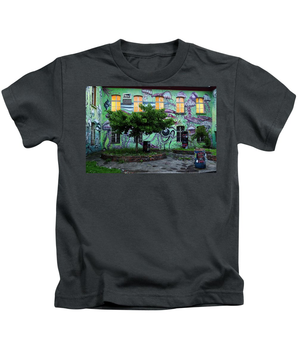Underwater Kids T-Shirt featuring the photograph Underwater Graffiti On Studio At Metelkova City Autonomous Cultu by Reimar Gaertner