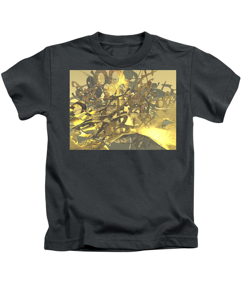 Scott Piers Kids T-Shirt featuring the painting Urban Gold by Scott Piers