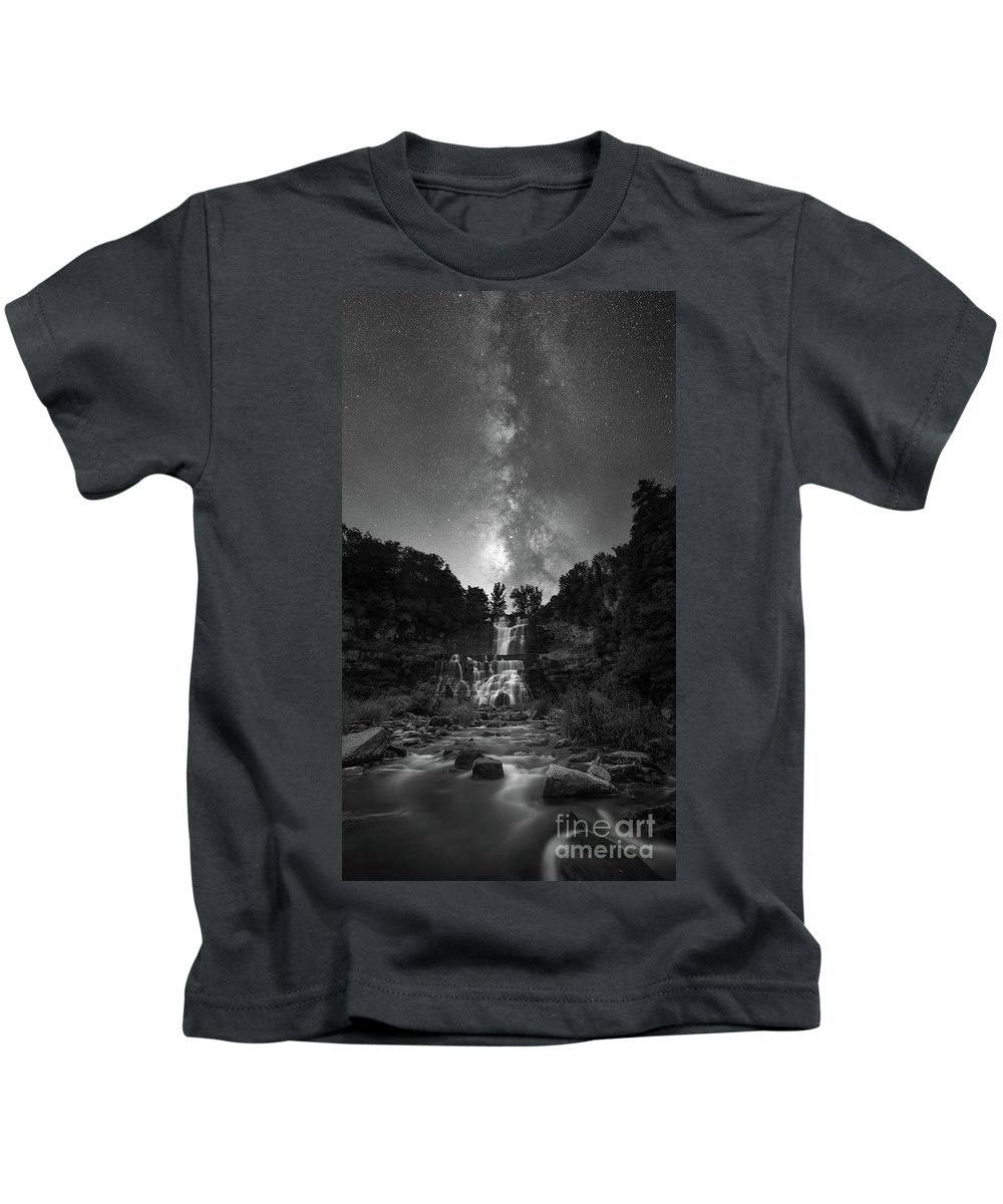 Chittenango Falls Kids T-Shirt featuring the photograph Waterfall Milky Way by Michael Ver Sprill