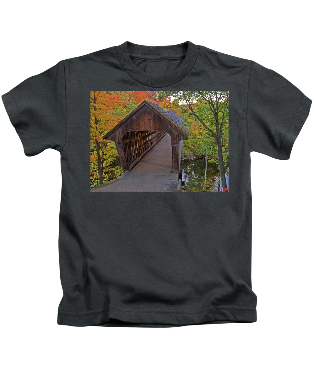 new England Covered Bridges Kids T-Shirt featuring the photograph Welcoming Autumn by Paul Mangold