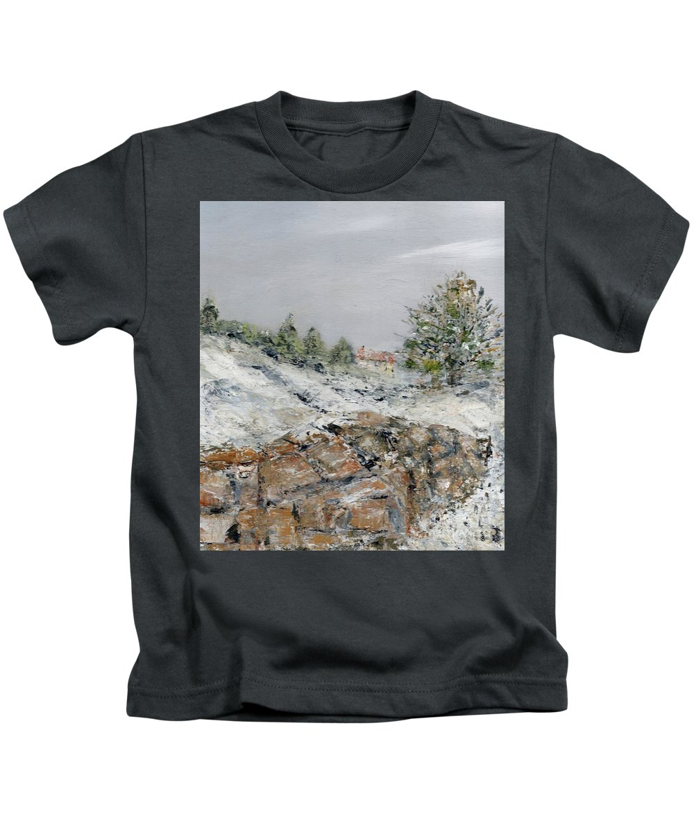 Winter Kids T-Shirt featuring the painting Winter Landscape by Kim Hamilton