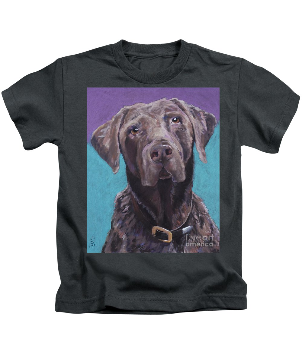 Pet Portrait Commissions Kids T-Shirt featuring the pastel 100 Lbs. Of Chocolate Love by Pat Saunders-White