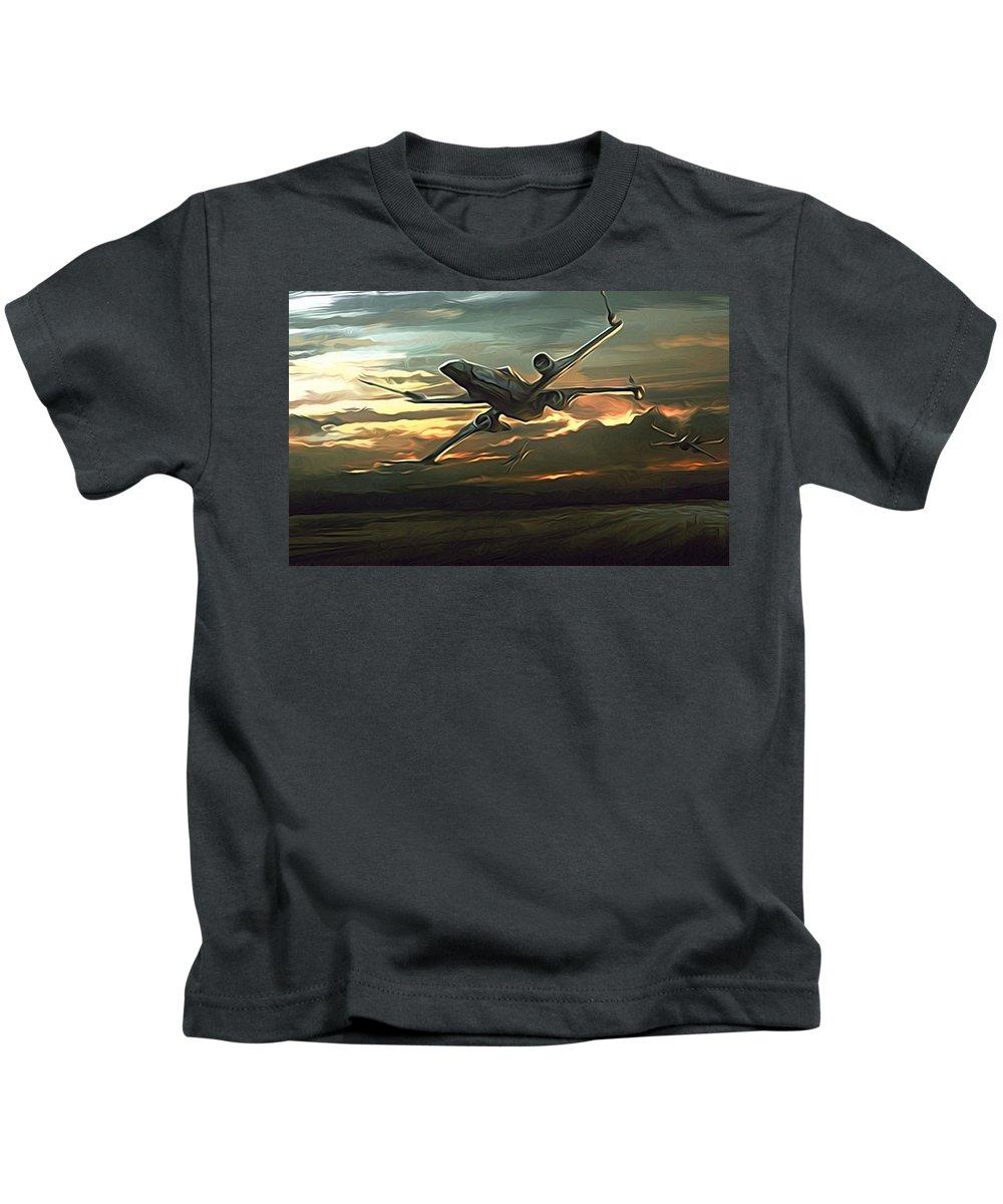 Star Wars Kids T-Shirt featuring the digital art Episode 2 Star Wars Poster by Larry Jones