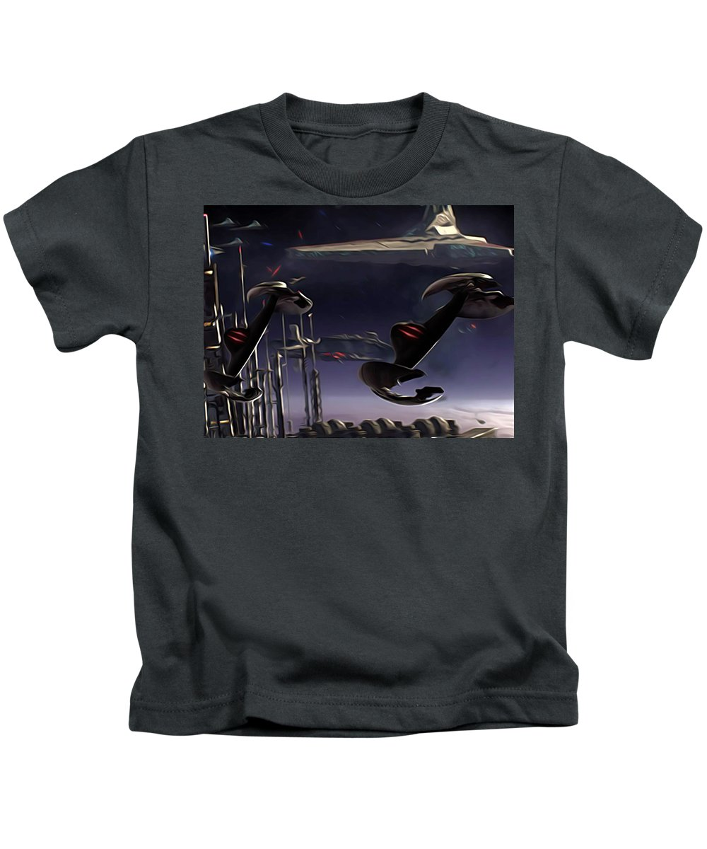 Star Wars Kids T-Shirt featuring the digital art Star Wars Episode 6 Poster by Larry Jones