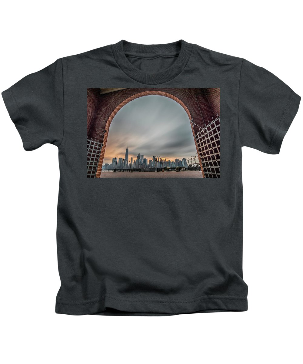 Liberty State Park Kids T-Shirt featuring the digital art 15 Years Later Archway Of Rememberance by Jennifer Bongiorno