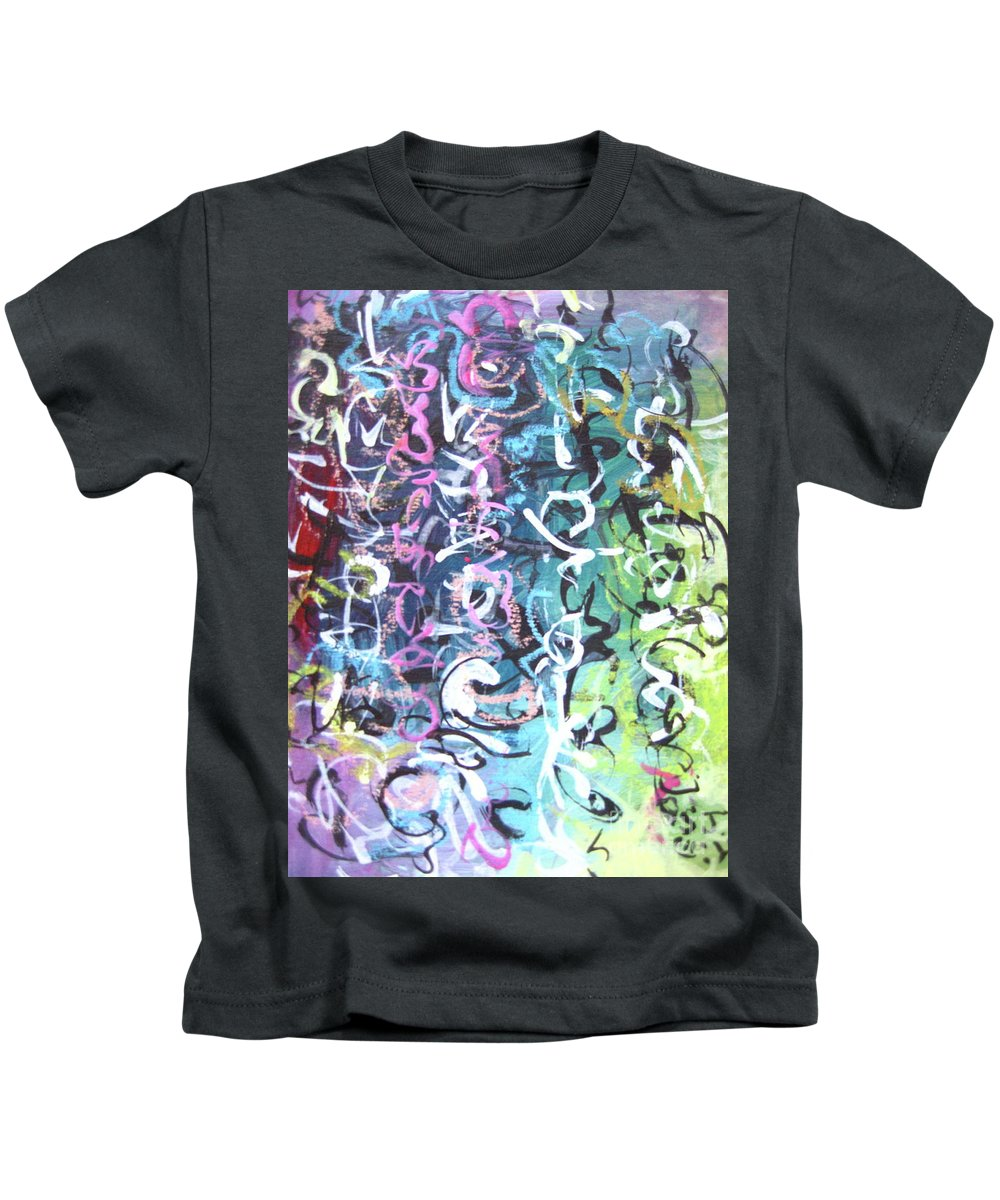 Abstract Landscape Painting Kids T-Shirt featuring the painting Abstract Calligraphy by Seon-jeong Kim