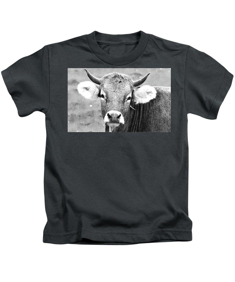 Bull Kids T-Shirt featuring the digital art Bull by Nadezhda Zhuravleva