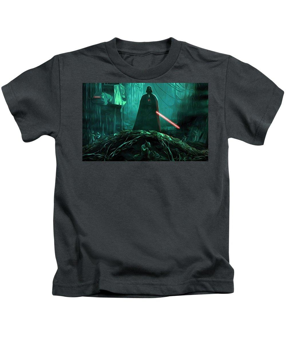 Star Wars Kids T-Shirt featuring the digital art Video Star Wars Art by Larry Jones