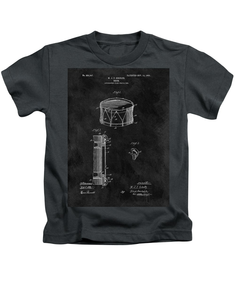 1905 Drum Patent Kids T-Shirt featuring the drawing 1905 Drum Patent Illustration by Dan Sproul