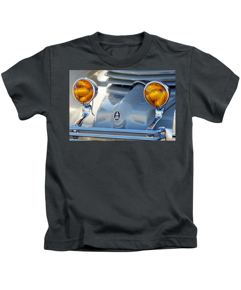 Car Kids T-Shirt featuring the photograph 1936 Cord Phaeton Headlights by Jill Reger