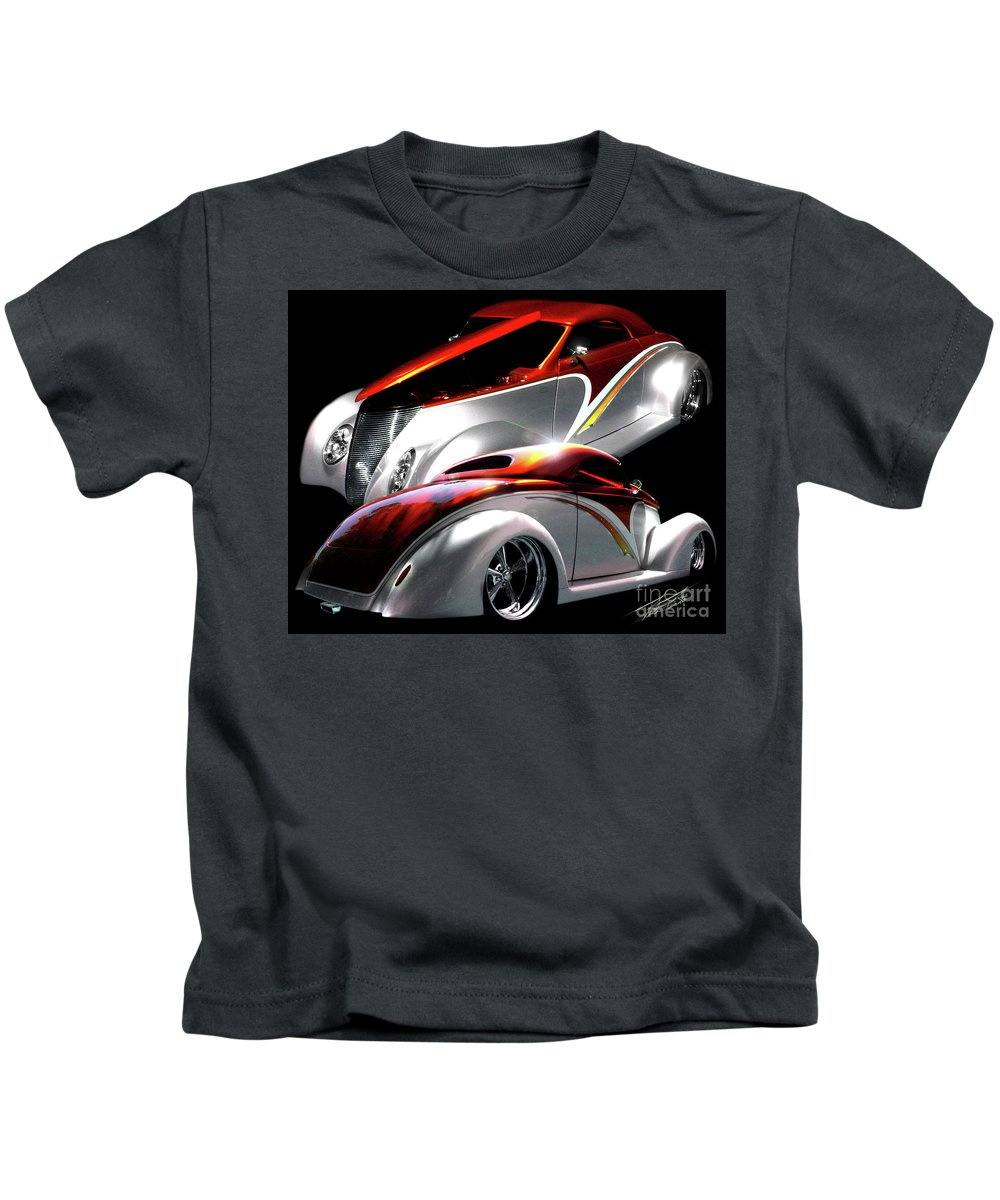 1937 Ford Coupe Kids T-Shirt featuring the photograph 1936 Striped Coupe by Peter Piatt