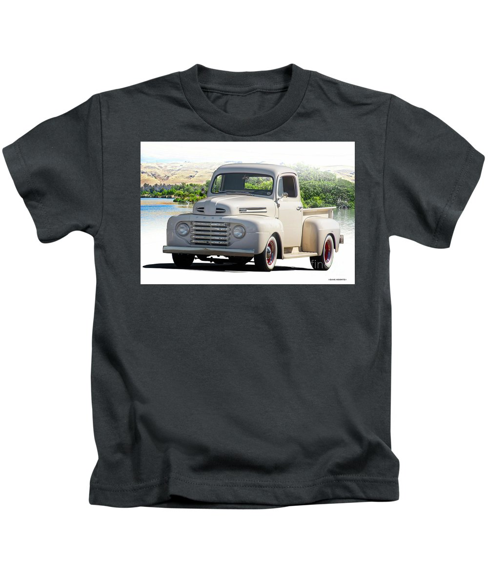 Automobile Kids T-Shirt featuring the photograph 1948 Ford F1 Stepside Pickup I by Dave Koontz