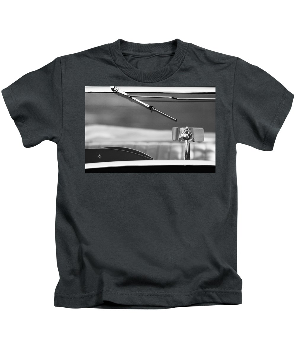 Transportation Car Detail Kids T-Shirt featuring the photograph 1948 Mg Tc Rear View Mirror Black And White by Jill Reger