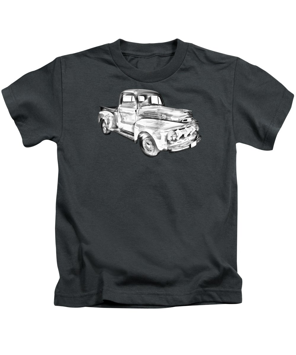 F1 Ford Pickup Truck Kids T-Shirt featuring the photograph 1951 Ford F-1 Pickup Truck Illustration by Keith Webber Jr