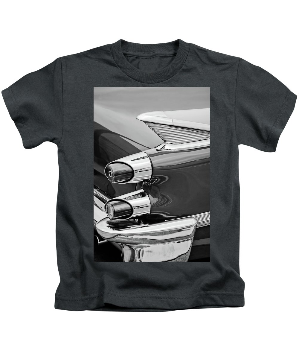 1959 Dodge Custom Royal Super D 500 Taillight Kids T-Shirt featuring the photograph 1959 Dodge Custom Royal Super D 500 Taillight -0233bw by Jill Reger