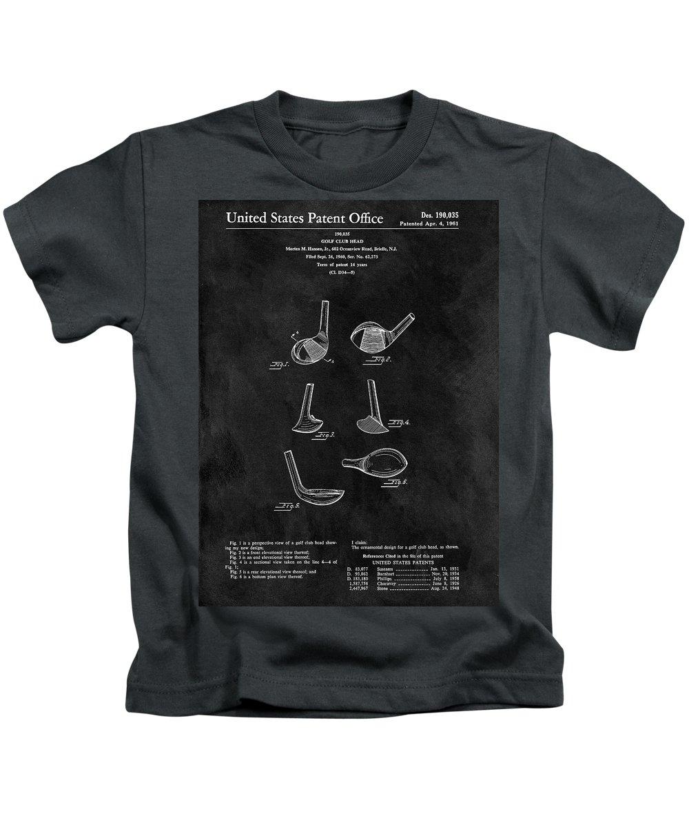 1961 Golf Club Head Patent Kids T-Shirt featuring the drawing 1961 Golf Club Head Patent 1961 by Dan Sproul